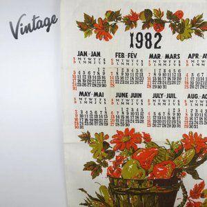 Vintage 1982 Calendar Tea Towel